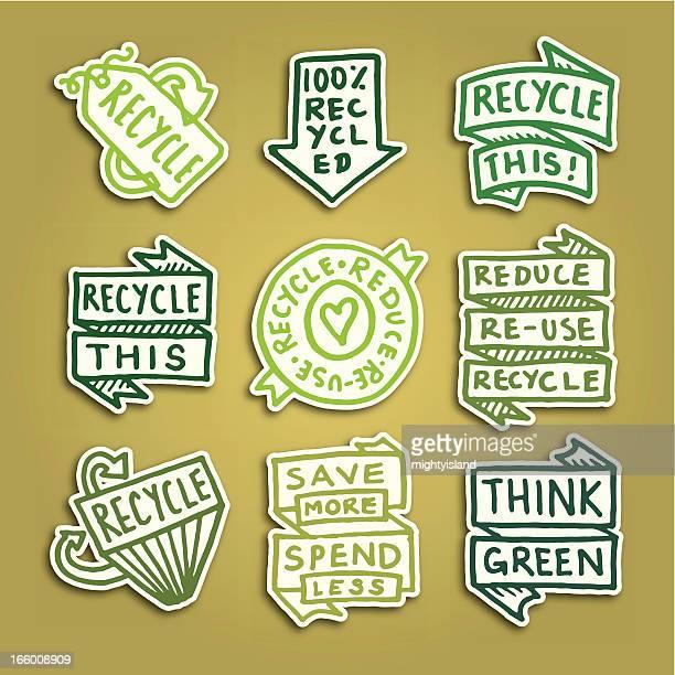 recycling-klebezettel abzeichen symbol vektor icon-set - recyclingsymbol stock-grafiken, -clipart, -cartoons und -symbole