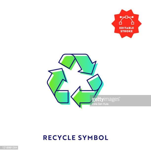 recycling symbol gradient flat line icon mit bearbeitbaren strich und pixel perfekt. - recyclingsymbol stock-grafiken, -clipart, -cartoons und -symbole