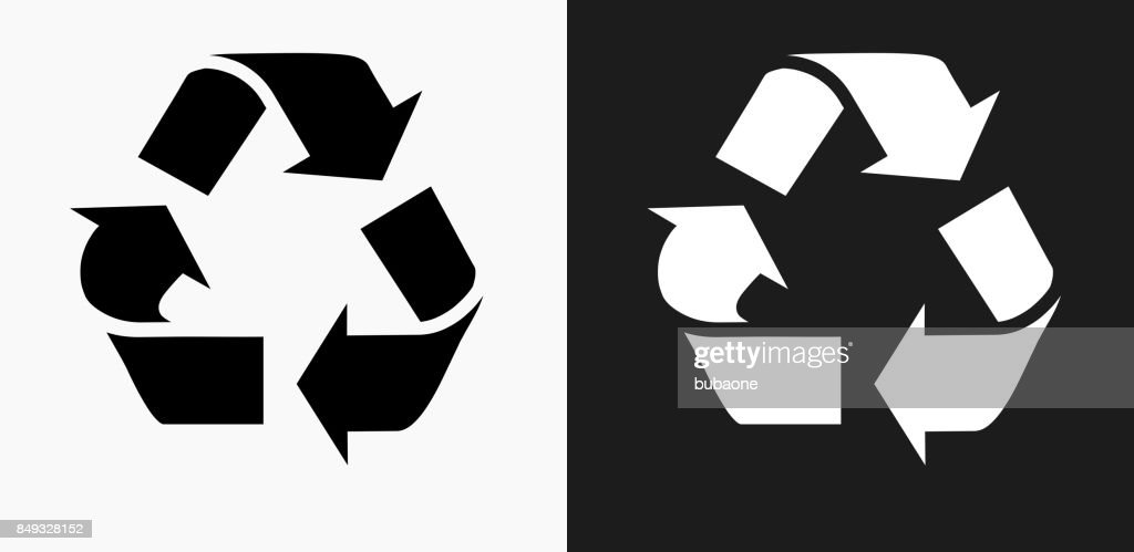 Recycling Symbol Icon On Black And White Vector Backgrounds Vector