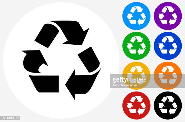 recycling symbol icon on flat color circle buttons - recycling stock-grafiken, -clipart, -cartoons und -symbole