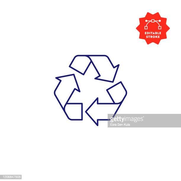 編集可能なストロークとピクセルパーフェクトとシンボルラインアイコンをリサイクル。 - リサイクルマーク点のイラスト素材/クリップアート素材/マンガ素材/アイコン素材