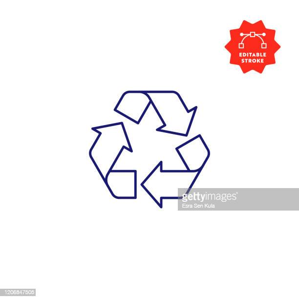 recycling symbol linie symbol mit editierbaren strich und pixel perfekt. - recyclingsymbol stock-grafiken, -clipart, -cartoons und -symbole