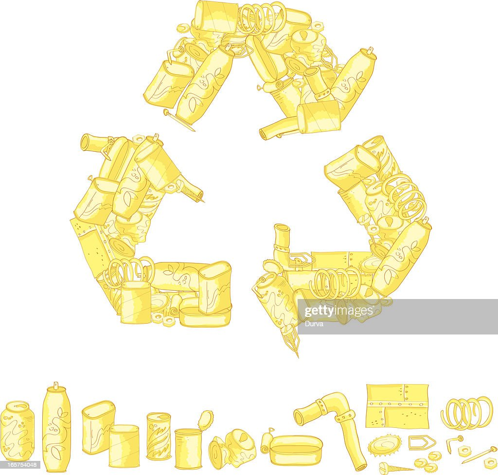 Recycling symbol made up of recycled items vector art getty images recycling symbol made up of recycled items vector art buycottarizona Image collections