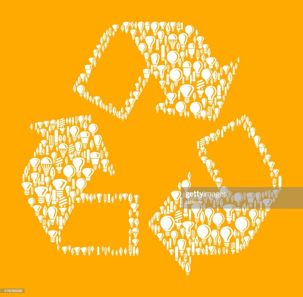 Recycling Symbol on Vector Lightbulb Pattern Background