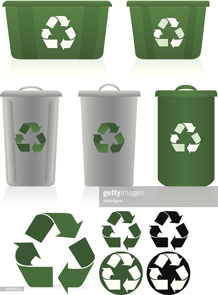 Recycling Symbols And Recycle Bins Set Green White Gray Vector Art