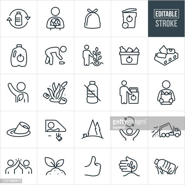 recycling thin line icons - editable stroke - recyclingsymbol stock-grafiken, -clipart, -cartoons und -symbole