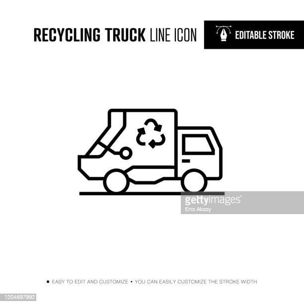 recycling truck line icon - editable stroke - garbage truck stock illustrations
