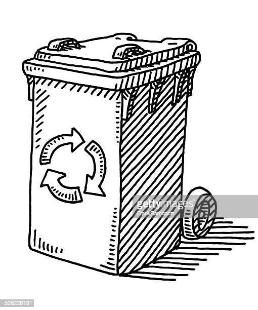 illustrations, cliparts, dessins animés et icônes de récipient de dessin recyclage des déchets - poubelle