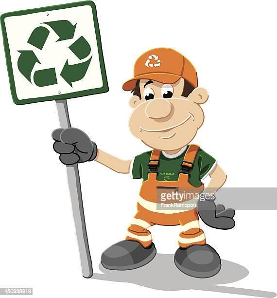 ilustrações de stock, clip art, desenhos animados e ícones de trabalhador homem de reciclagem isolado - gari