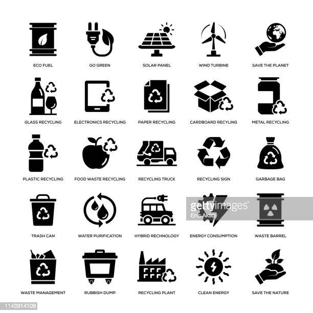 stockillustraties, clipart, cartoons en iconen met recyclage icon set - glas materiaal