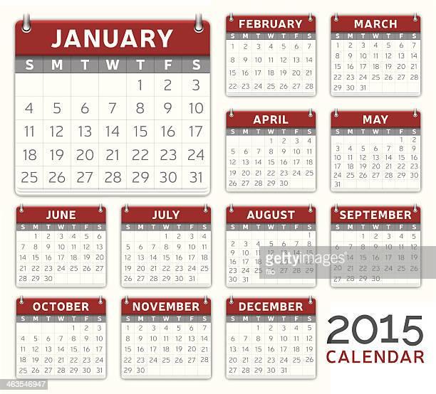 ilustraciones, imágenes clip art, dibujos animados e iconos de stock de rojo calendario 2015 - 2015