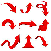 Red 3d arrows. Bent and curled up icons