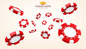 Red 3d casino chips or flying realistic tokens