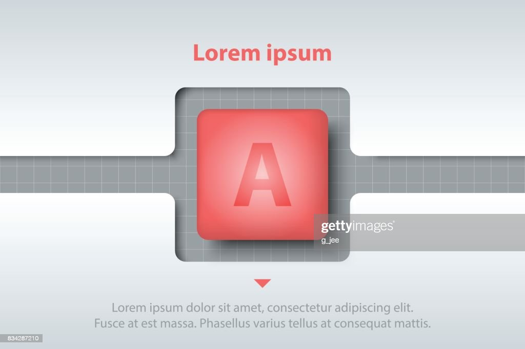 red 3d square in timeline carve white template on white grid for
