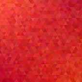Red abstract mosaic triangle tile pattern background - modern polygon vector design from regular triangles