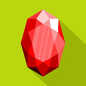 Red adamant icon, flat style.