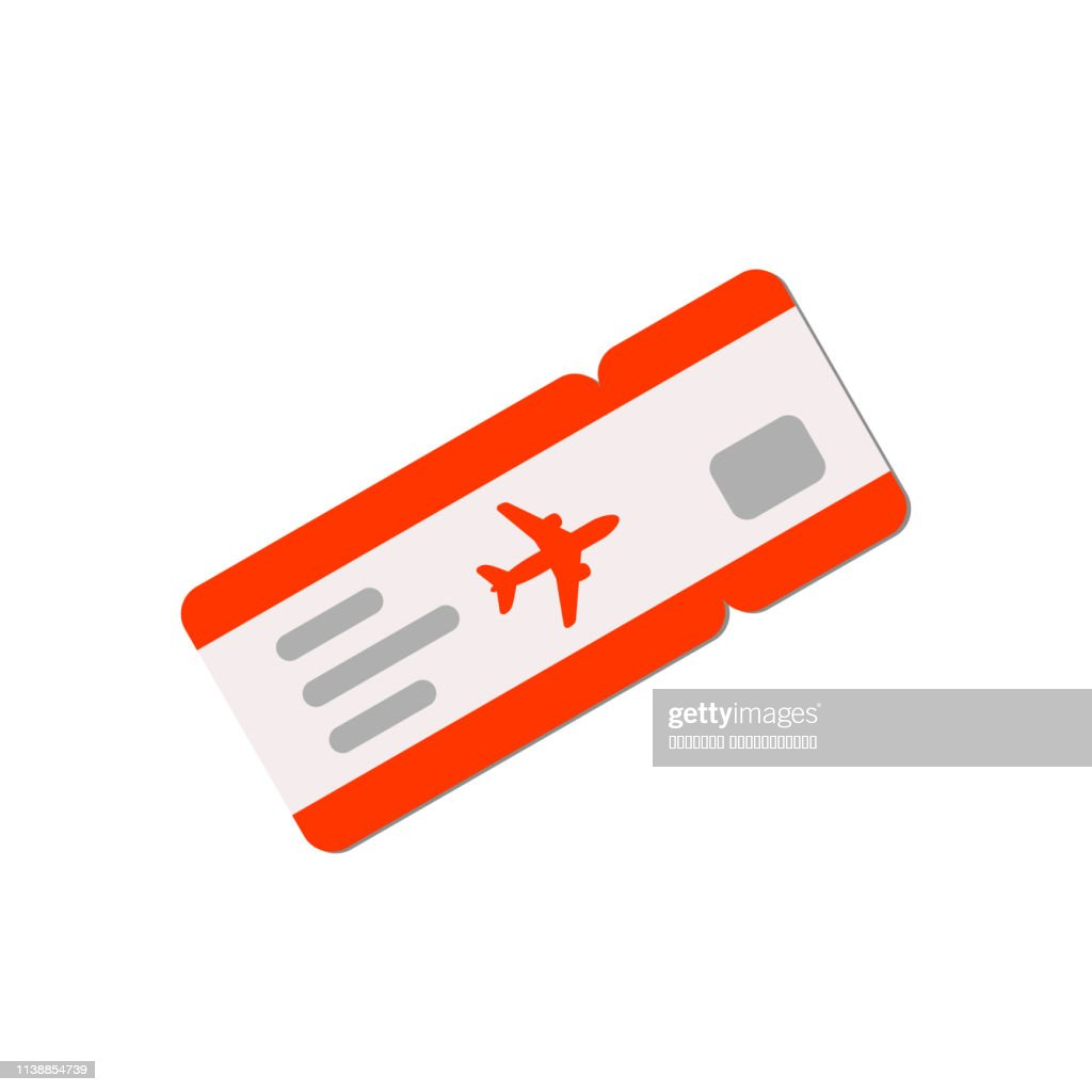 Red air ticket illustration in flat style