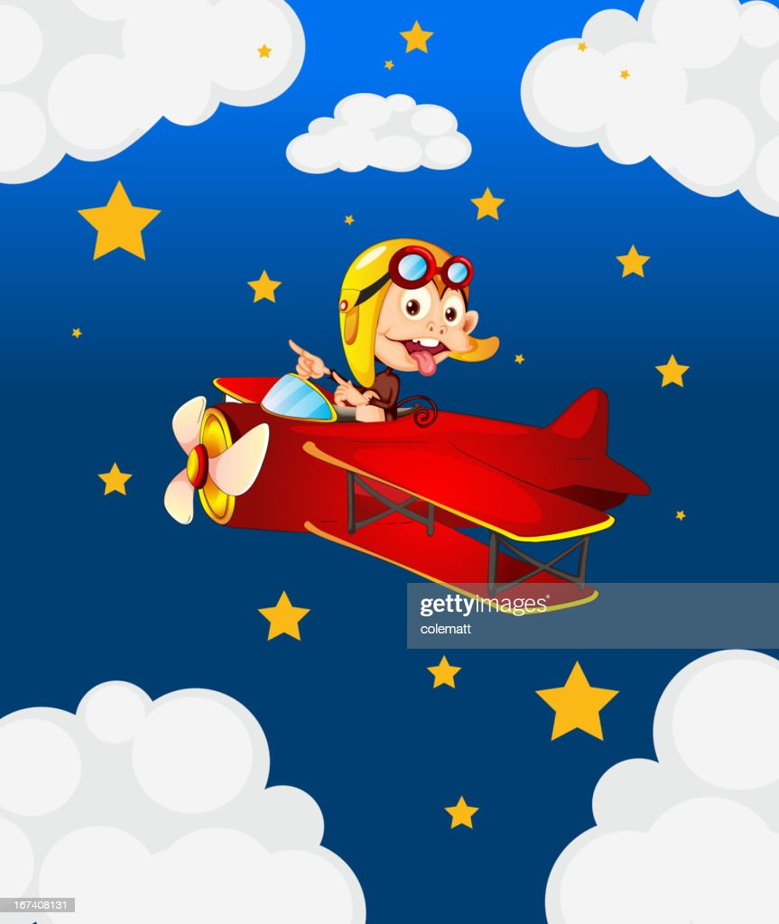 Red airplane with a boastful monkey : Vector Art