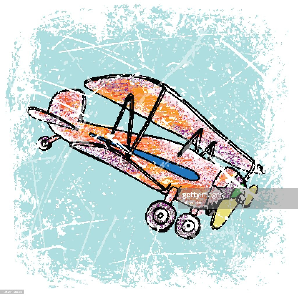 red airplane with yellow propeller, funny, hand drawn, color penсil