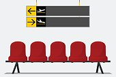 Red airport seat in waiting room. Chair icon vector.