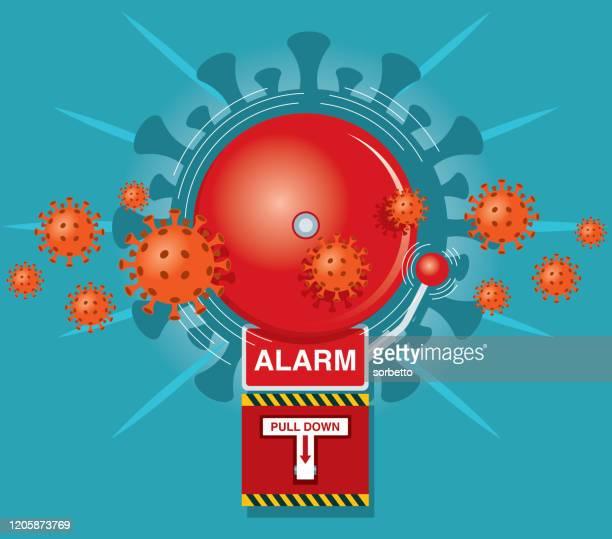 red alarm bell - coronavirus - bell stock illustrations