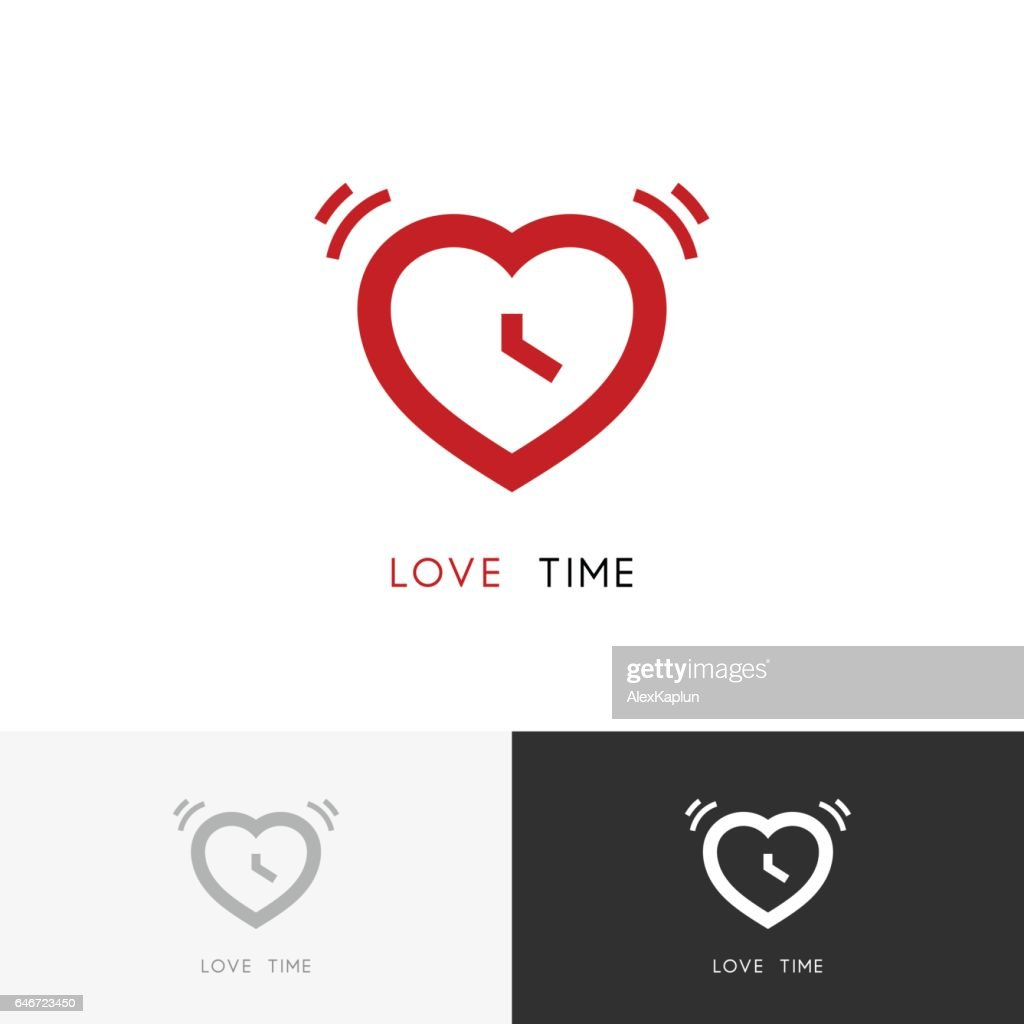 Red alarm clock and heart symbol