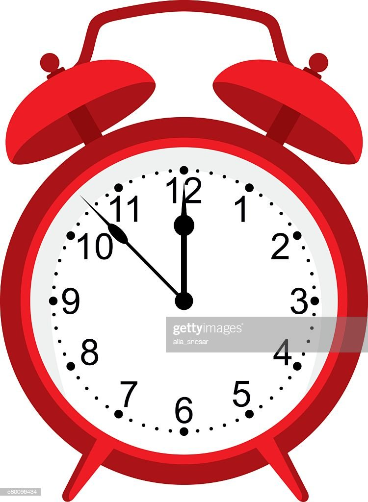 red alarm clock isolated on white background. Red clock.