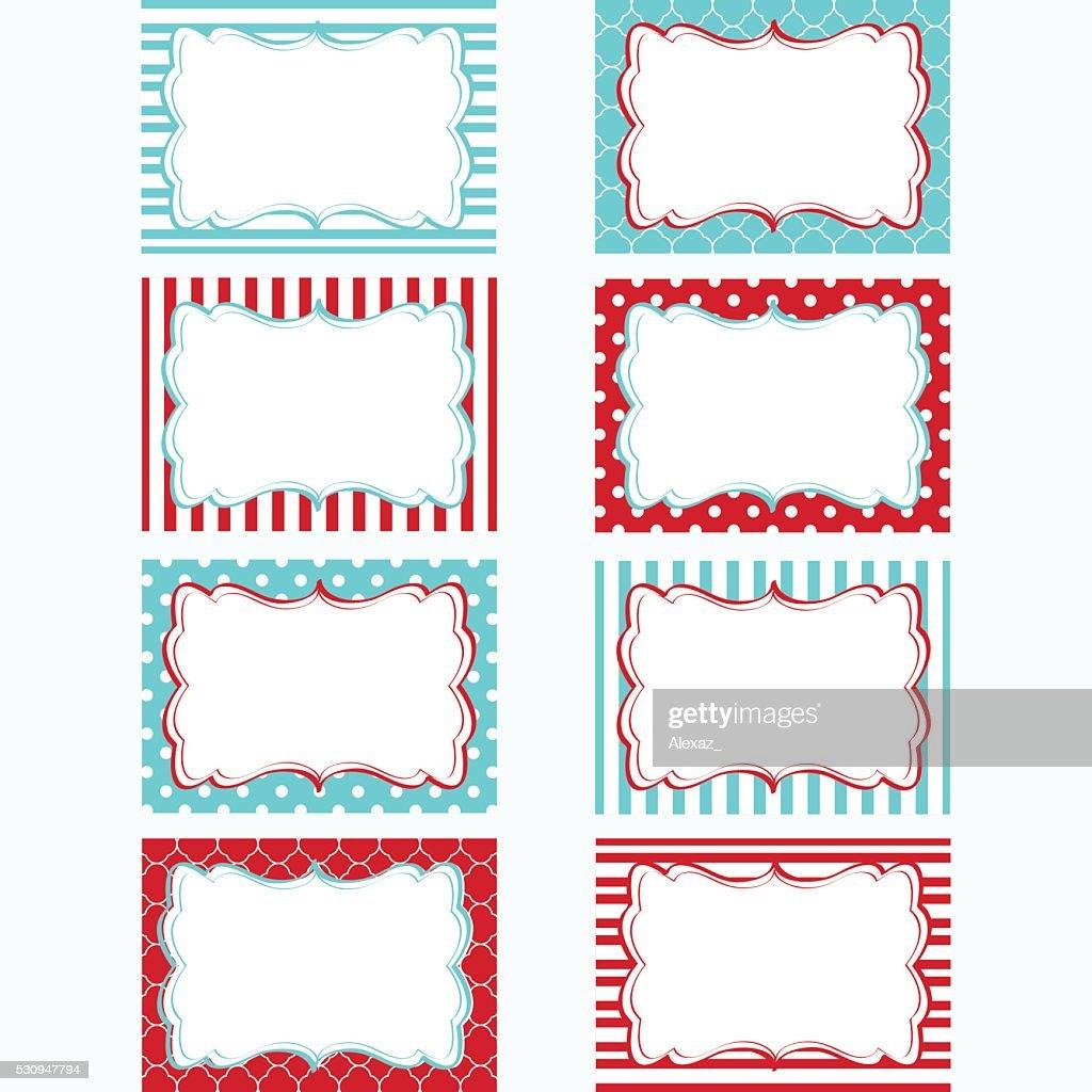 Red and Aqua Printable Labels Set.