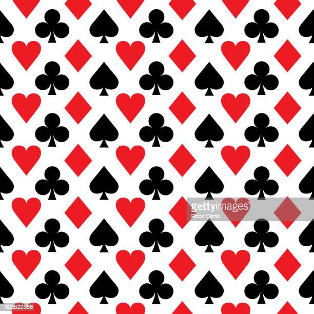 red and black aces seamless pattern - ace stock illustrations, clip art, cartoons, & icons
