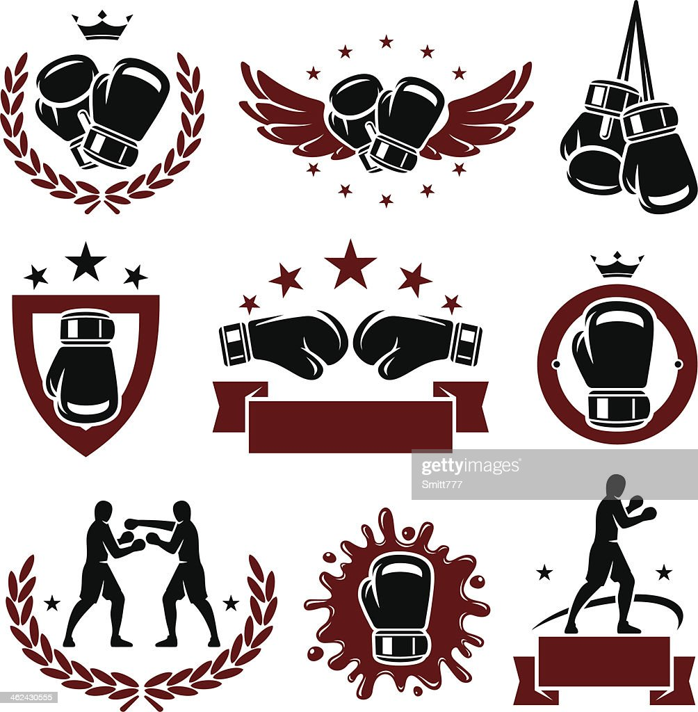 Red and black boxing glove icons and labels