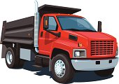 Red and black cartoon image of dump truck on white
