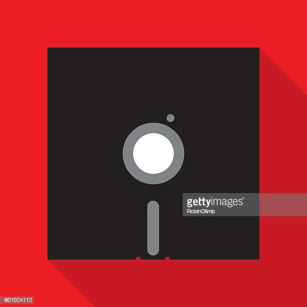 red and black floppy disc icon - floppy disk stock illustrations, clip art, cartoons, & icons