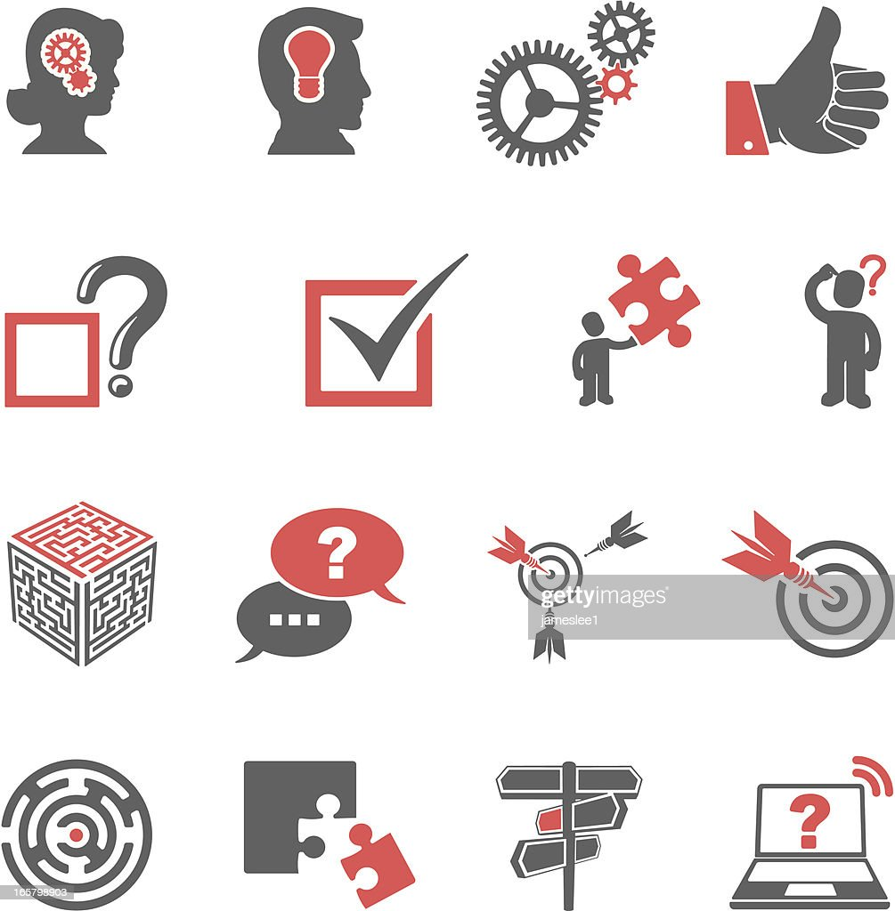 Red and black problem-solving icon set