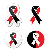 Red and black ribbons set - atheism symbol