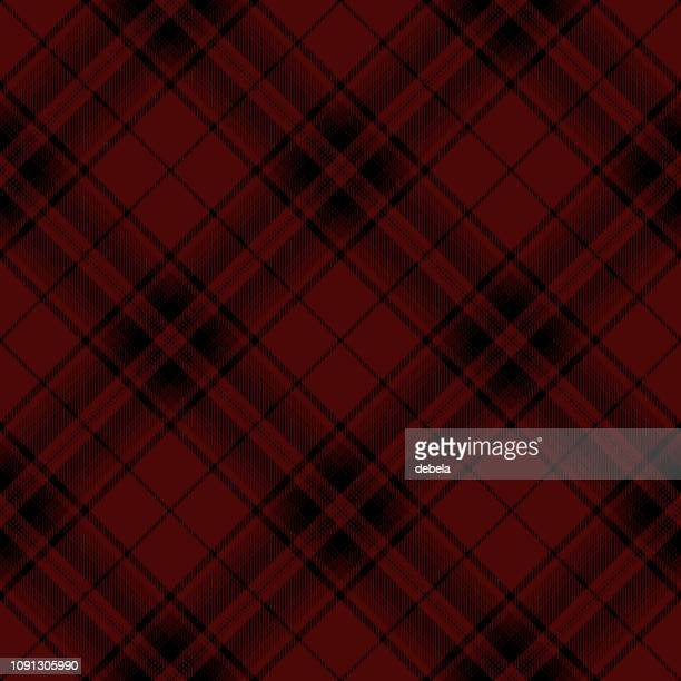 Red And Black Scottish Tartan Plaid Textile Pattern