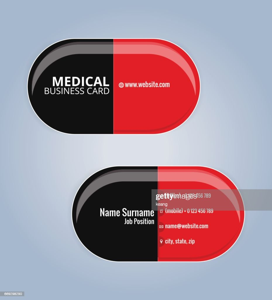 red and black the drug capsules business card template medical card template vector art