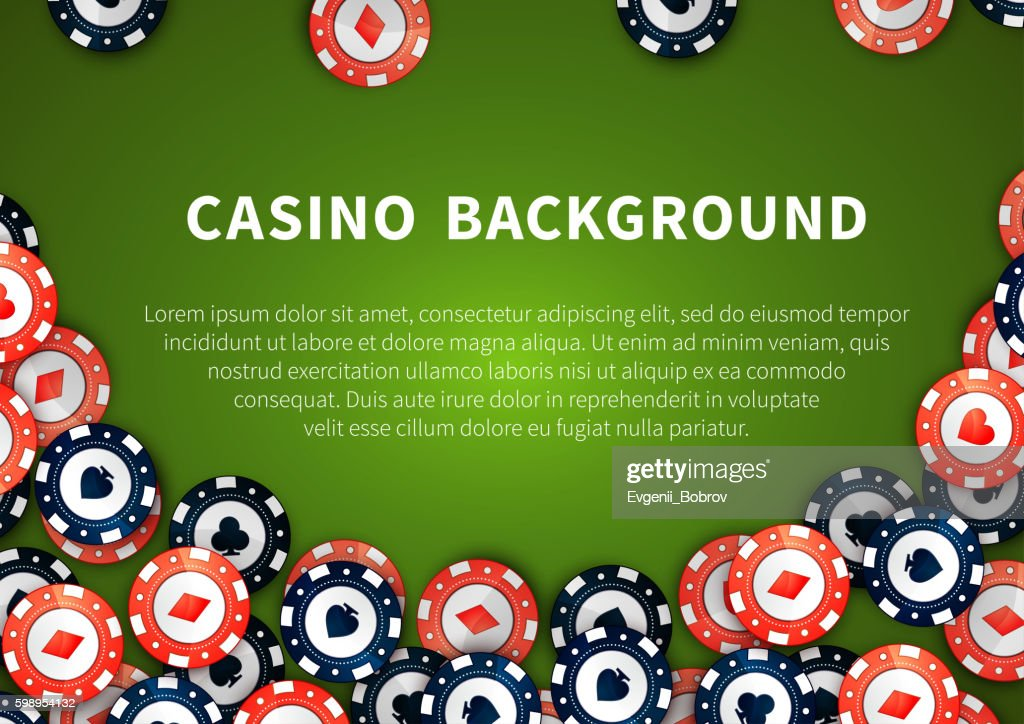 Red and blue casino chips on green table, background with