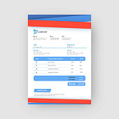 Red and blue corporate invoice or estimate template.