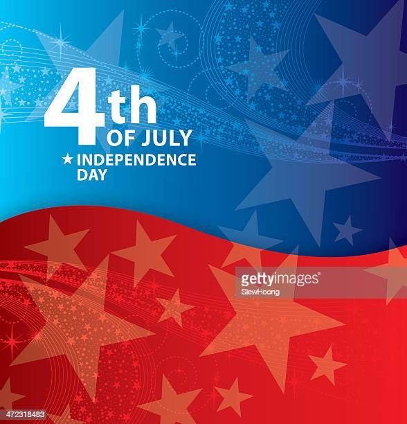 Red and blue Fourth of July poster