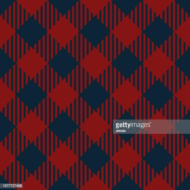 red and blue lumberjack argyle pattern background - scottish tweed stock illustrations, clip art, cartoons, & icons