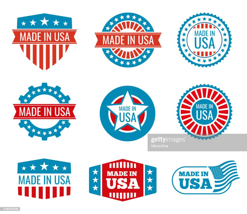 Red and blue made in the USA emblems set