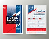 Red and Blue Poster Brochure Flyer design Layout vector template