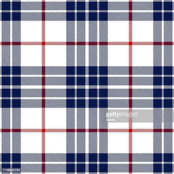 red and blue scottish tartan plaid textile pattern - tartan stock illustrations