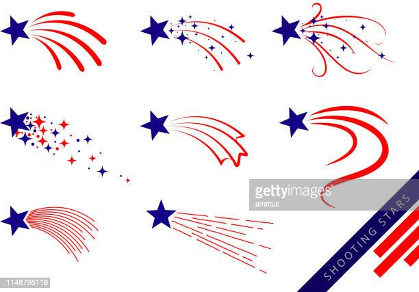 red and blue shooting stars - fourth of july stock illustrations