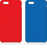 Red and Blue smartphone cases isolated on white