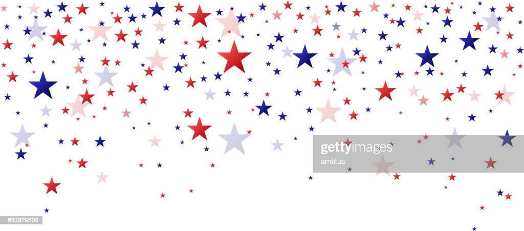 Red and blue stars falling : stock illustration