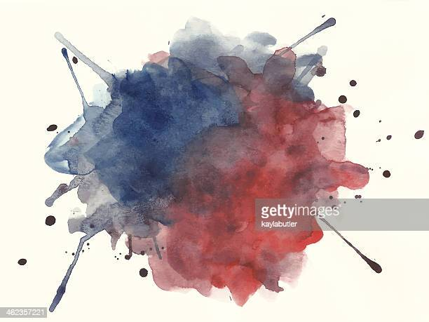 red and blue watercolor splashe - wood stain stock illustrations, clip art, cartoons, & icons