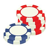 Red and bue casino tokens isometric 3d icon