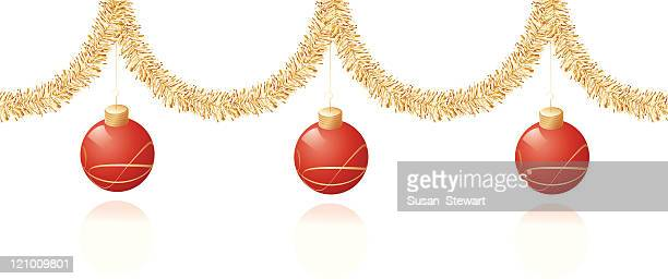 red and gold christmas decoration - tinsel stock illustrations