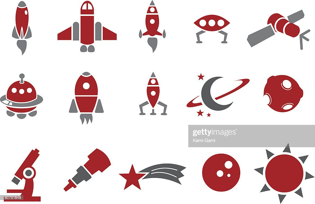 15 red and gray space-themed icons